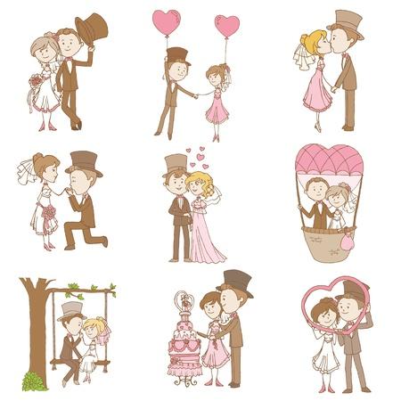 Novia y novio - Wedding Set Doodle - Elementos de diseño para Álbum de recortes, la invitación