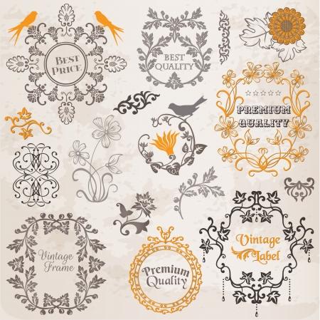 page decoration: Kalligrafische Design Elements Pagina Decoratie, Vintage Frame collectie met bloemen