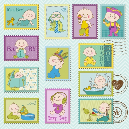 baby scrapbook: Baby Boy Postage Stamps - for design and scrapbook
