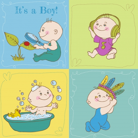 Baby Boy Arrival Card or Baby Shower Card Stock Vector - 14269189
