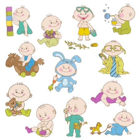 baby boy announcement: Baby Boy Doodle Set - for design, scrapbook, shower or arrival cards Illustration