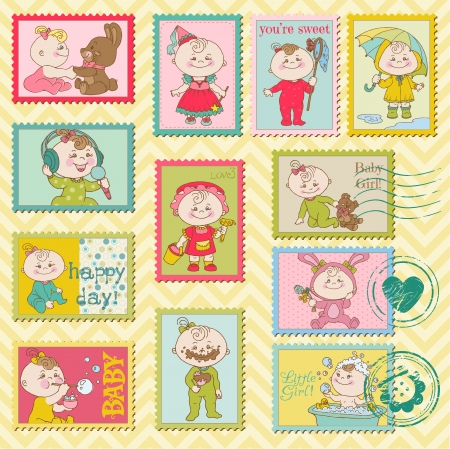 Baby Girl Postage Stamps - for scrapbook, invitation, congratulation Stock Vector - 14269237