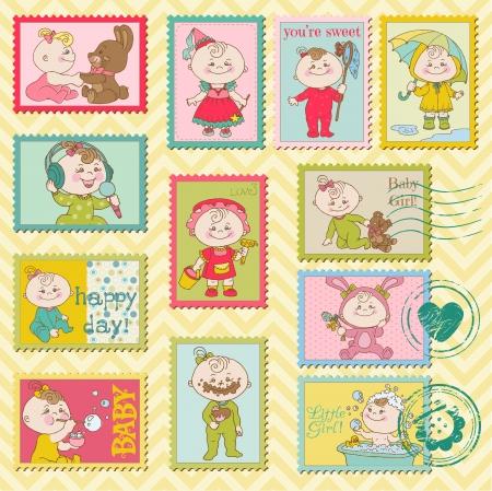 welcome party: Sellos postales del beb� ni�a-para bloc de notas, invitaciones, felicitaciones Vectores