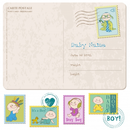 Baby Arrival Card with set of stamps Vector