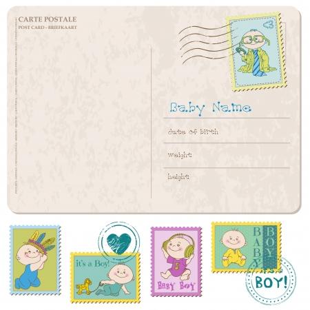 Carte d'arrivée de bébé avec série de timbres