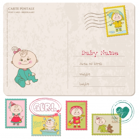 postcard background: Baby Girl Greeting Postcard with place for your photo and text- and set of stamps