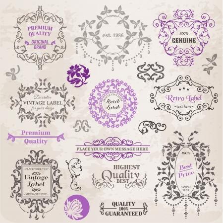 calligraphique: �l�ments de conception et de la d�coration calligraphiques page, la collecte de cadre de cru avec des fleurs Illustration