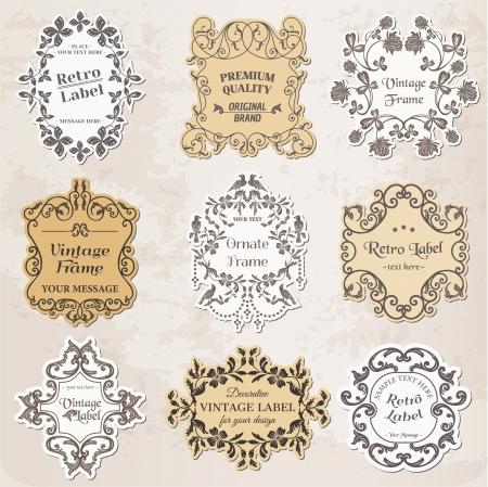 vendange: Cadres Vintage, �l�ments de design et de d�coration calligraphiques page Illustration