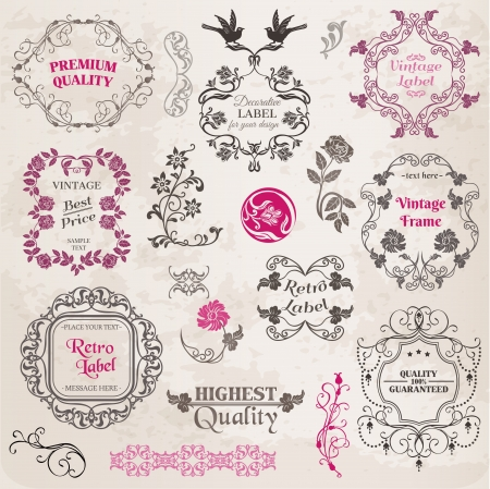 Calligraphic Design Elements and Page Decoration, Vintage Frame collection with Flowers Stock Vector - 14367734
