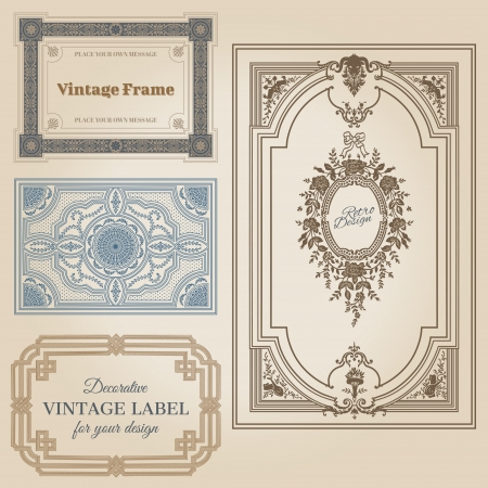 romantic date: Vintage frames and design elements - with place for your text