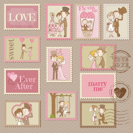 Wedding Postage Stamps - for design and scrapbook  Vector