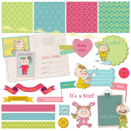 Scrapbook Design Elements - Baby Girl Shower Set  Stock Vector - 14367767