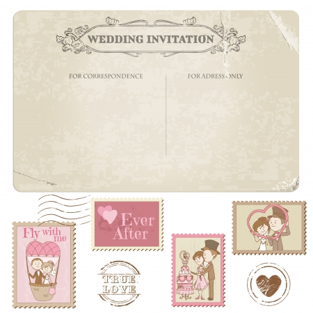 Wedding Postcard and Postage Stamps - for wedding design, invitation, congratulation, scrapbook Stock Vector - 14367765
