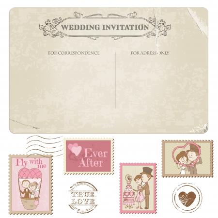 vintage postcard: Wedding Postcard and Postage Stamps - for wedding design, invitation, congratulation, scrapbook Illustration