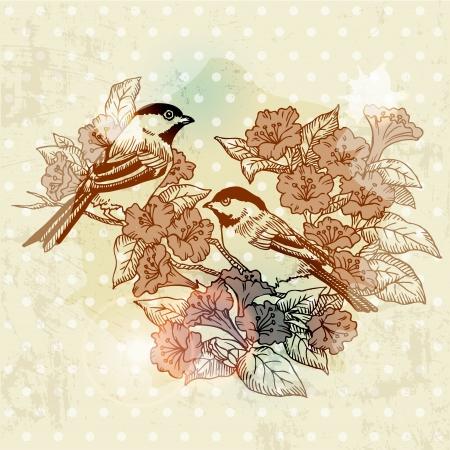 Tarjeta de primavera de la vendimia con aves y flores - dibujado a mano