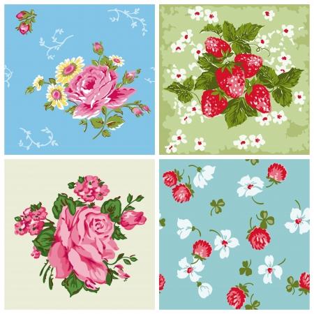 blue roses: Set of Seamless Vintage Floral backgrounds - for scrapbook and design Illustration