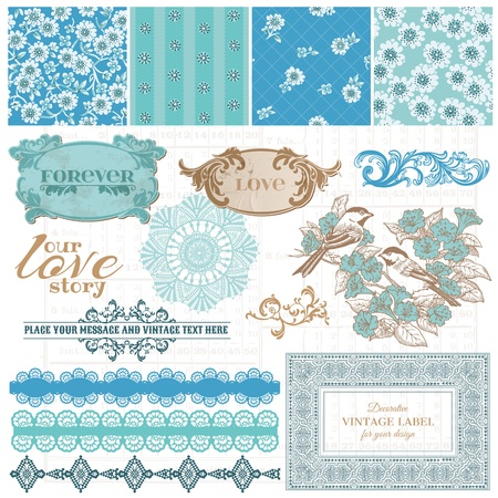 scrapbooking: Scrapbook Design Elements - Vintage Blue Flowers - in vector