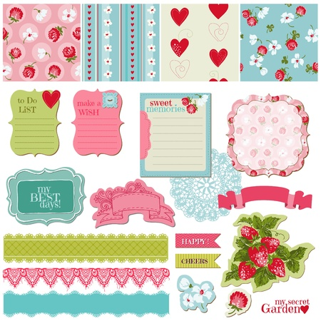 scrap paper: Scrapbook Design Elements - Vintage Flowers and Strawberry Set - in vector