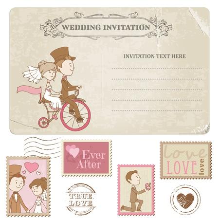 Postal de la boda y los sellos - para el diseño de la boda, invitaciones, felicitaciones, álbum de recortes Ilustración de vector
