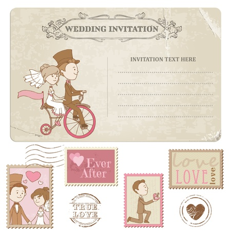 Wedding Postcard and Postage Stamps - for wedding design, invitation, congratulation, scrapbook Ilustrace