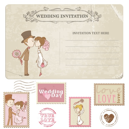 inbjudan: Bröllop Vykort och Frimärken - för att gifta sig design, inbjudan, lyckönskan, scrapbook Illustration