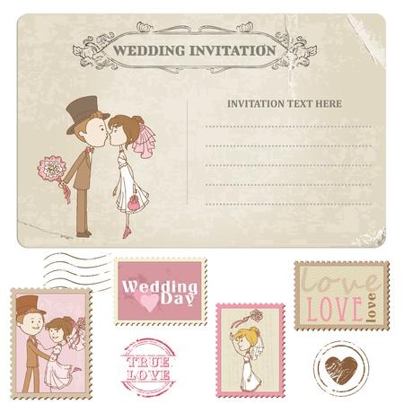 Wedding Postcard and Postage Stamps - for wedding design, invitation, congratulation, scrapbook