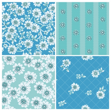 Seamless backgrounds Collection - Vintage Flowers - for design and scrapbook - in vector Illustration