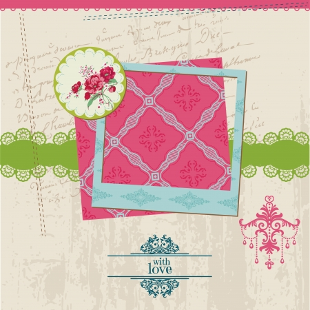 Scrapbook Design Elements - Vintage Flower Card with Photo Frame - in vector Stock Vector - 14460643