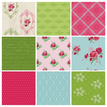 Seamless background Collection - Vintage Flowers - for design and scrapbook - in vector Vector