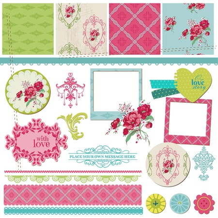 baby scrapbook: Scrapbook Design Elements - Vintage Flower Card with Photo Frame - in vector Illustration