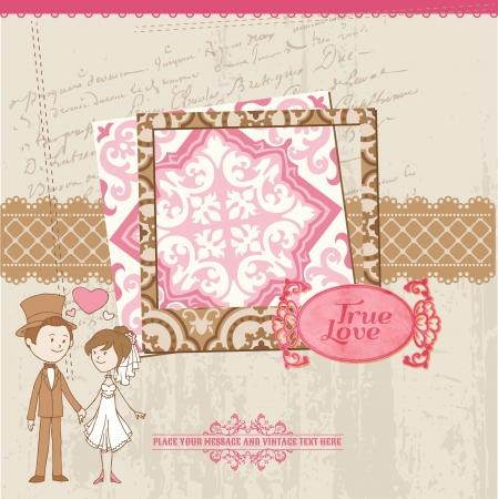 Wedding Scrapbook Card - for wedding design, invitation, congratulation, scrapbook - in vector Vector