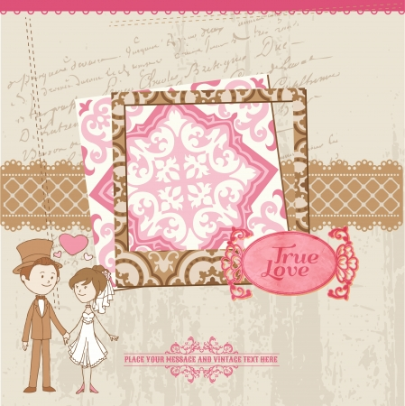 Wedding Scrapbook Card - for wedding design, invitation, congratulation, scrapbook - in vector Illustration