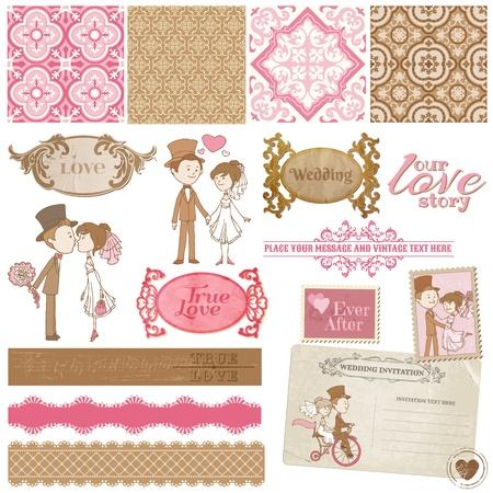 スクラップブッキング: デザイン、招待状、お祝いのためのスクラップ ブック デザイン要素 - ビンテージ結婚式の設定-  イラスト・ベクター素材