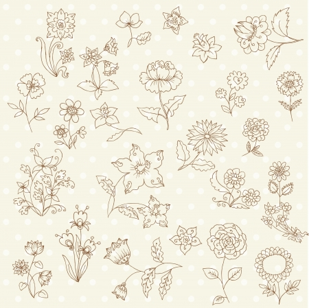 Set of Hand Drawn Flowers - for scrapbook and design in vector Vector