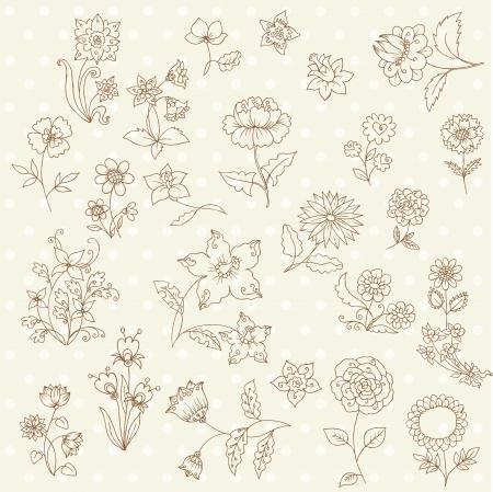 Juego de manos dibujadas Flores - para bloc de notas y diseño en vectores