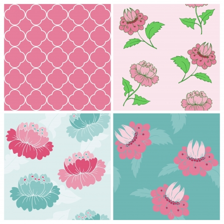 Set of Seamless Vintage Floral backgrounds - for scrapbook and design - in vector Stock Vector - 14460654