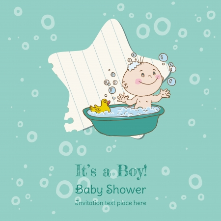 Baby Boy Shower and Arrival Card - with place for your text in vector Vector