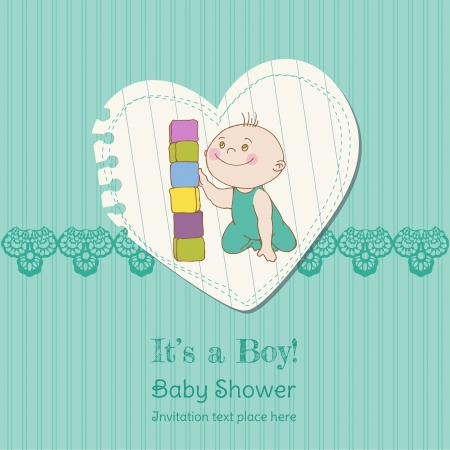 Baby Boy Shower and Arrival Card - with place for your text in vector Stock Vector - 14460662