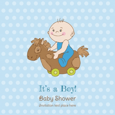 Baby Boy Shower And Arrival Card   With Place For Your Text In Vector