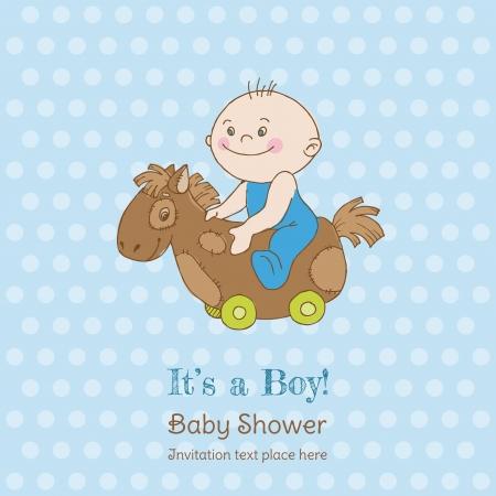 welcome party: Baby Shower Ni�o y la tarjeta de llegada - con lugar para el texto en el vector