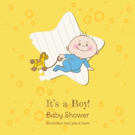 Baby Shower Niño y la tarjeta de llegada - con lugar para el texto en el vector