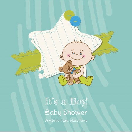 cute baby boy: Baby Boy Shower and Arrival Card - with place for your text in vector