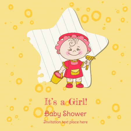 Baby Girl Shower and Arrival Card - with place for your text in vector Vector
