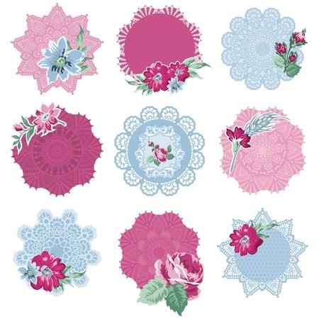 papel scrapbook: Elementos de dise�o del libro de recuerdos - Etiquetas con flores - en el vector Vectores