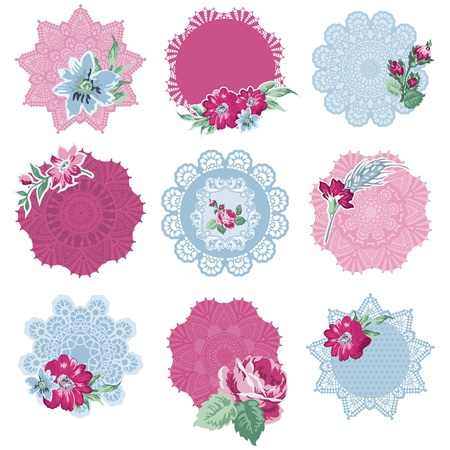 Scrapbook Design Elements - Tags with Flowers - in vector Vector