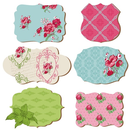 Scrapbook Design Elements - Vintage Tags with Flowers - in vector Vector