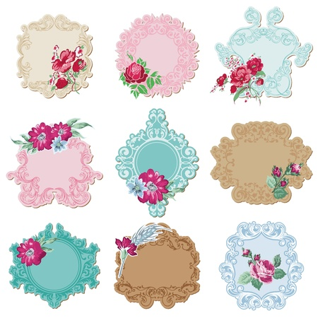 Scrapbook Design Elements - Vintage Tags and Frames with Flowers - in vector Vector