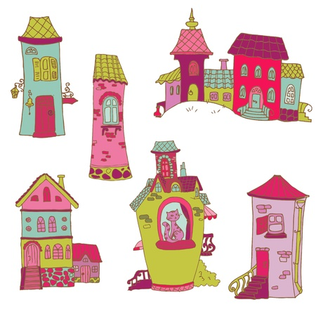 Scrapbook Design Elements - Little Houses Doodles - in vector Vector