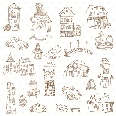 small town: Scrapbook Design Elements - Small Town Doodles - in vector