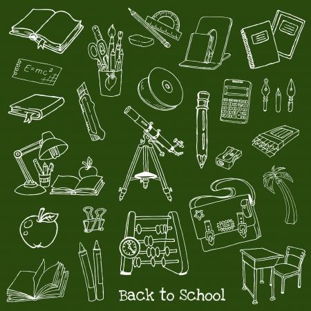 classroom supplies: Volver a la Escuela Garabatos dibujados a mano - Elementos de dise�o, ilustraci�n